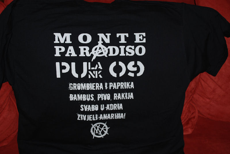 Backprint  will be only available at the 2009 Monte Paradiso FestivalOnly on black. Available sizes Guys S, M, L,  XL